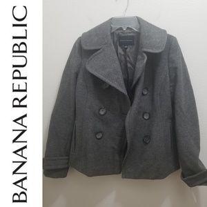 BANANA REPUBLIC - Grey Wool Pea Coat